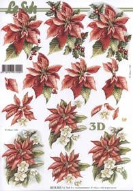 3D sheet Weihnachtsblum rot - Format A4
