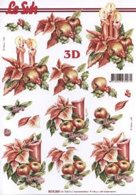 3D sheet Weihnachtsblum mit Kerze - Format A4
