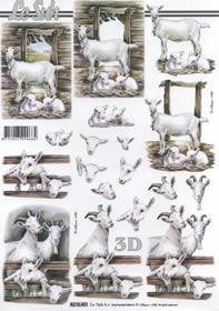 Feuille 3D Ziegen - Format A4