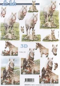 Hojas de 3D Pferd mit Füllen - Formato A4