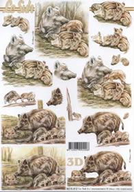 3D sheet Wildschwein mit Frischlinge - Format A4
