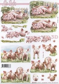 Feuille 3D Schweine+Ferkel - Format A4
