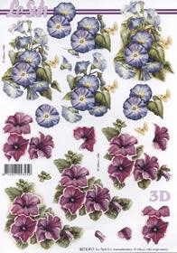 Hojas de 3D 2x Blumen rot/blau - Formato A4