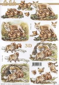 Feuille 3D Fuchs mit Jungtieren - Format A4