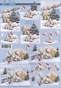Hojas de 3D Weihnacht Eisbär - Formato A4