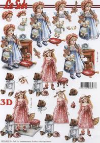 3D sheet Puppen mit Bär - Format A4