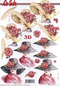 3D Bogen Damen mit Hut - Format A4
