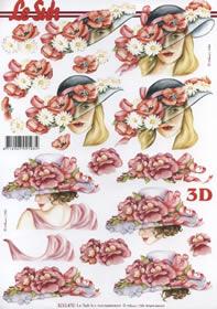 3D Bogen 2x Dame mit Blumenhut - Format A4
