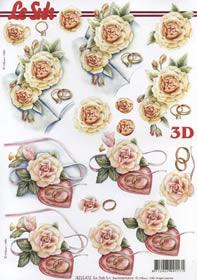 3D Bogen Trauringe mit Rosen - Format A4