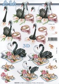 Feuille 3D Heiraten Schwäne - Format A4