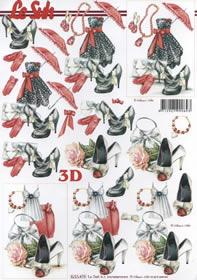 Feuille 3D Frauwenblatt rot/schwarz - Format A4