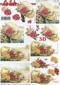 3D Bogen Hut mit Rosen - Format A4