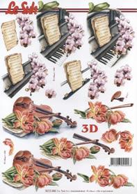 3D sheet Klavier+Geige+Blumen - Format A4