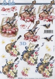 Hojas de 3D Instrument mit Blumen - Formato A4