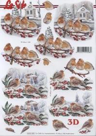 3D Bogen Weihnachten rot Kehlchen - Format A4