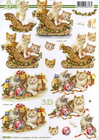3D sheet Weihnachtskätzchen auf Schlitte - Format A4