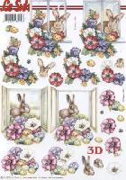 3D Bogen Blumen am Fenster mit Hase - Format A4