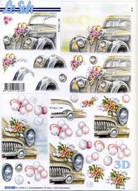 Feuille 3D Hochzeitsauto - Format A4