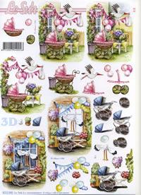Feuille 3D Kinderwagen rosa+blau - Format A4