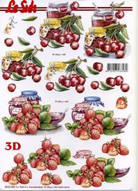 Feuille 3D Erdbeer+Kirsch Marmelade - Format A4