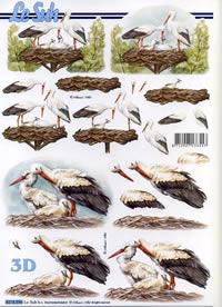 3D Bogen Storchenpaar - Format A4