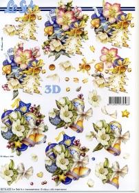 3D sheet Weihnachten blau - Format A4