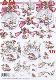 Feuille 3D Weihnachtskugel mit Vogel - Format A4