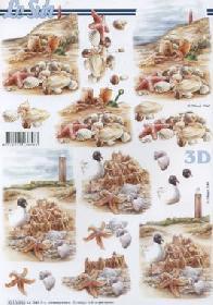Hojas de 3D Muscheln + Leuchtturm - Formato A4