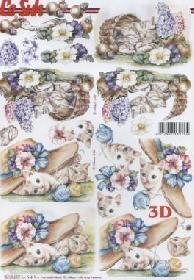 3D Bogen Katze mit Blumen - Format A4