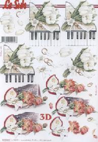 3D Bogen Hochzeit Klavier - Format A4