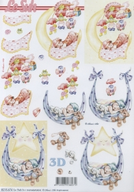 Hojas de 3D Baby rosa+blau - Formato A4