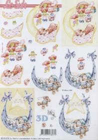 Feuille 3D Baby rosa+blau - Format A4