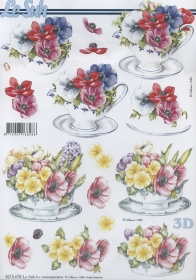Hojas de 3D Blumen in der Tasse - Formato A4