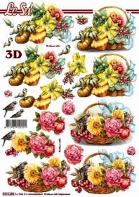 Carta per 3D Blumenkorb + K?rbis - Formato A4