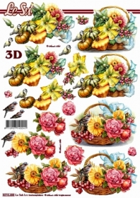 3D Bogen Blumenkorb + K?rbis - Format A4