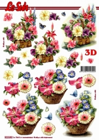 Hojas de 3D Blumenkorb - Formato A4
