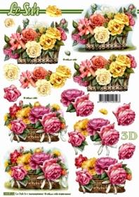 3D sheet Blumen im Korb - Format A4