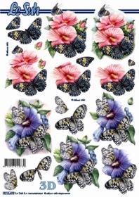3D sheet Blumen+Schmetterlinge - Format A4