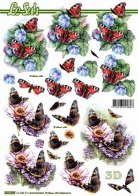 Hojas de 3D Blumen+Schmetterlinge - Formato A4