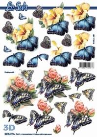 Hojas de 3D Blumen + Schmetterlinge - Formato A4