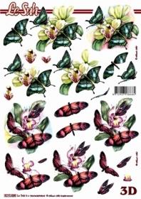Hojas de 3D Blumen+ Schmetterlinge - Formato A4