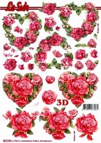 3D sheet Rosenherzen - Format A4