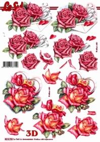 Hojas de 3D Rosen und Briefumschlag - Formato A4