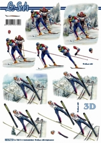 3D sheet Format A4 - Skifahrer - Format A4