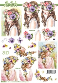 Hojas de 3D Frau mit Blumenkranz - Formato A4