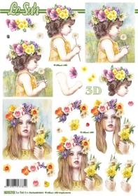 Carta per 3D Blumen-Mädchen - Formato A4