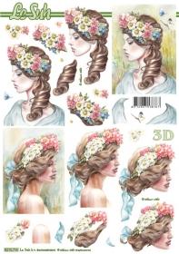 Hojas de 3D Frau mit Blumen+blaue Schleife - Formato A4