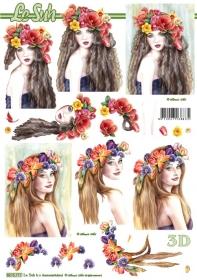 3D Bogen Frau mit Blumen im Haar - Opmaak A4