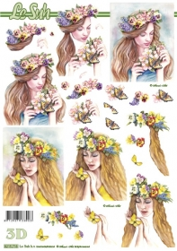 3D sheet Blumen-Frau - Format A4