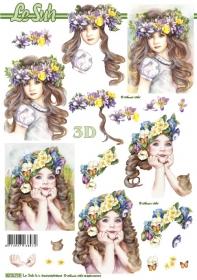 Hojas de 3D Kinder mit Blumen im Haar - Formato A4